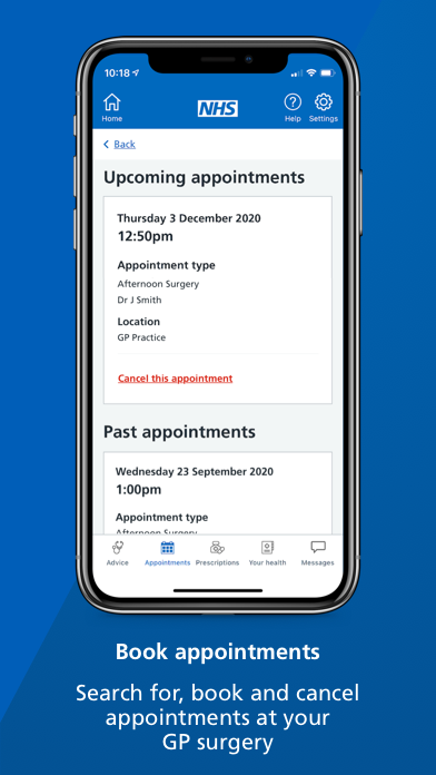 """A smartphone screen showing the appointments page of the NHS App with text underneath that reads: """"Search for, book and cancel appointments at your GP surgery."""""""