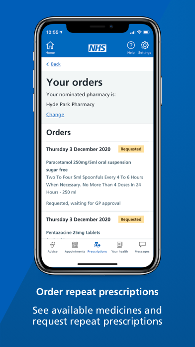 """A smartphone screen showing the prescriptions page of the NHS App with text underneath that reads: """"Order repeat prescriptions. See available medicines and request repeat prescriptions."""""""