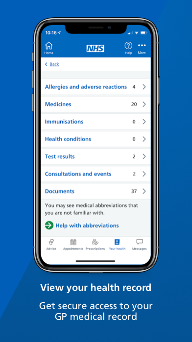 """A smartphone screen showing the health record page of the NHS App with text underneath that reads: """"View your health record. Get secure access to your GP medical record."""""""