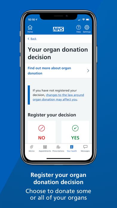 """A smartphone screen showing the your organ donation decision page of the NHS App with text underneath that reads: """"Register your organ donation decision. Choose to donate some or all of your organs."""""""