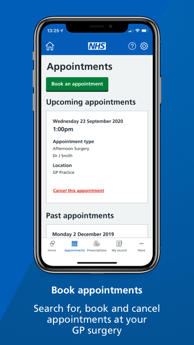 """A smartphone screen showing the 'appointments' page of the NHS App with text underneath that reads: """"Search for, book and cancel appointments at your GP surgery."""""""