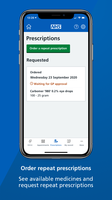 """A smartphone screen showing the 'prescriptions' page of the NHS App with text underneath that reads: """"Order repeat prescriptions. See available medicines and request repeat prescriptions."""""""