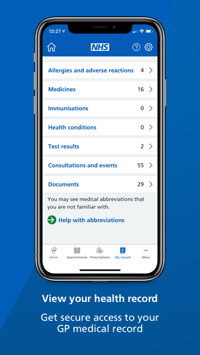 """A smartphone screen showing the 'health record' page of the NHS App with text underneath that reads: """"View your health record. Get secure access to your GP medical record."""""""