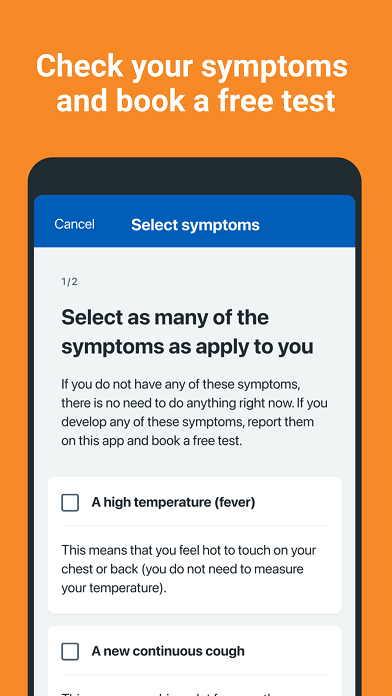 "A smartphone screen with an orange background and white text that reads: ""Check your symptoms and book a free test."" Underneath it says: ""Select as many of the symptoms as apply to you"", and below there is a list of symptoms with checkboxes."